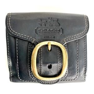 Coach Black Leather Wallet Bi Fold Gold Buckle